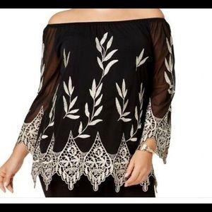 NWT Alfani Rose Shimmer blouse, sz L